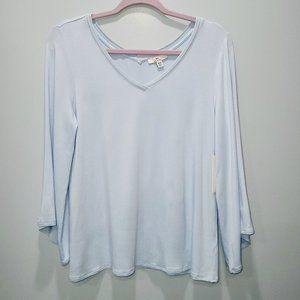 H by Halston NWT Blue Butterfly Sleeve XS Top P228